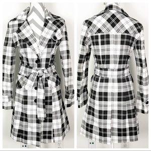 Gemma Ricceri Black White Plaid Trench Coat Jacket